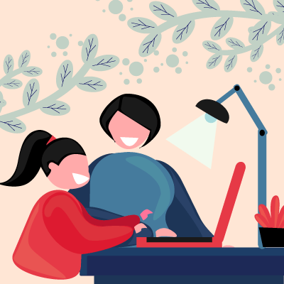 happy parent and child at desk