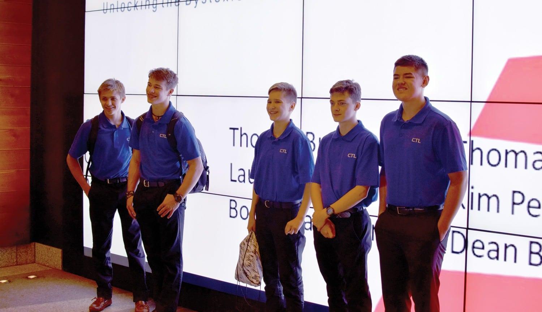 students at screen