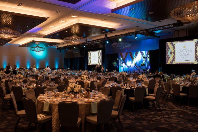Ballroom at the Hyatt for the 2019 Groves Gala.